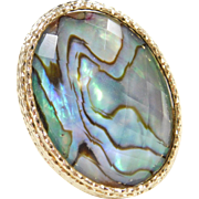 Vintage 14k Gold BIG Abalone Shell Ring
