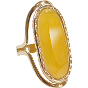 Vintage 14k Gold BIG Yellow Quartz Ring