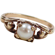 Vintage 10k Gold Cultured Pearl Ring