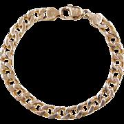 """Vintage 14k Gold Gents Curb Link Bracelet ~ 8 1/2"""""""