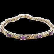 "Vintage 14k Gold Amethyst and Diamond Bracelet 7"""