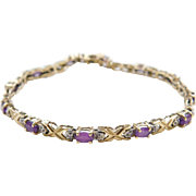 Vintage 14k Gold Amethyst and Diamond Bracelet 7""