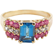 Vintage 14k Gold Blue Topaz, Ruby and Diamond Ring