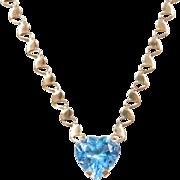 """Vintage 14k Gold Blue Topaz Heart Necklace ~ 18"""""""