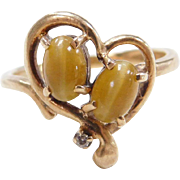 Vintage 10k Gold Tigers Eye and Diamond Ring