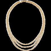 """Vintage 14k Gold Triple Strand Rope Necklace ~ 17"""""""