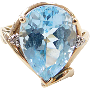 Vintage 10k Gold Blue Topaz and Diamond Ring