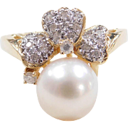 Vintage 14k Gold Two-Tone Cultured Pearl and Diamond Ring