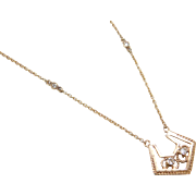 Vintage 14k Gold Diamond Necklace ~ 16""