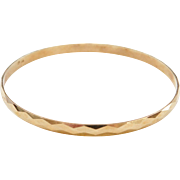 "Vintage 18k Gold Bangle Bracelet ~ 8.6"" Circumference"