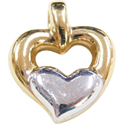 Vintage 14k Gold Two-Tone Heart Pendant