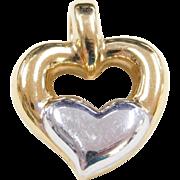 Vintage 14k Gold Two-Tone Heart Pendant
