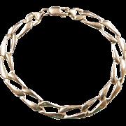 """Vintage 14k Gold Elongated Curb Link Bracelet ~ 7"""""""