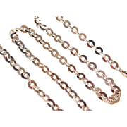 """Sterling Silver Long 24"""" Gold Vermeil Link Chain ~ 22.1 Grams"""