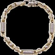 "Heavy Designer Braccio 14k Gold Two-Tone Men's Bracelet ~ 9 3/8"""