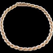 """Vintage 14k Gold Rope Bracelet ~ 8 1/4"""""""