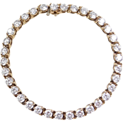 "Vintage 14k Gold Faux Diamond Bracelet ~ 6 7/8"""
