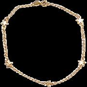 """Vintage 14k Gold Star Anklet ~ 8 3/4"""""""