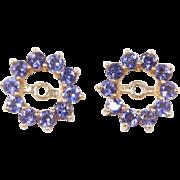 Vintage 14k Gold Iolite Earring Jackets