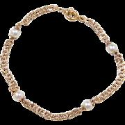 """Vintage 14k Gold Cultured Pearl Bracelet ~ 7"""""""