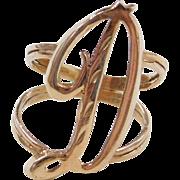 Vintage 14k Gold Letter D Ring