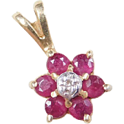 Vintage 14k Gold Two-Tone Ruby and Diamond Flower Pendant