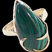 Vintage 14k Gold Malachite Ring