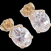 Vintage 14k Gold Faux Diamond Stud Earrings