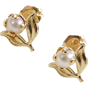 Vintage 14k Gold Cultured Pearl Flower / Leaf Stud Earrings