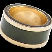 Vintage 14k Gold Inlay Jade Band Ring