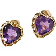 Vintage 14k Gold Amethyst Heart Stud Earrings