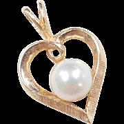 Vintage 14k Gold Cultured Pearl Heart Pendant