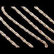 "Vintage 14k Gold Twisted Serpentine Chain ~ 21"" ~ 5.4 Grams"
