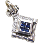 Vintage 18k White Gold Sapphire and Diamond Pendant
