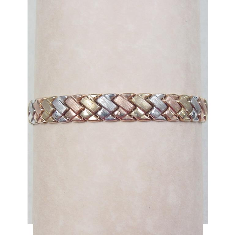 vintage 10k gold tri color bracelet from rubylane sold on