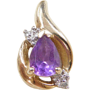 Vintage 10k Gold Two-Tone Amethyst and Diamond Pendant