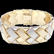 """Vintage 14k Gold Wide Two-Tone Bracelet 7"""""""