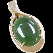 Vintage 14k Gold Jade and Diamond Pendant