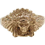 Vintage 14k Gold Native American Indian Ring