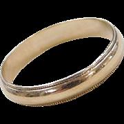 Vintage 14k Gold Men's Milgrain Edge Wedding Band Ring ~ Gents