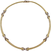 """Vintage 18k Gold Two-Tone Woven Necklace ~ 16"""" ~ 45.8 Grams"""