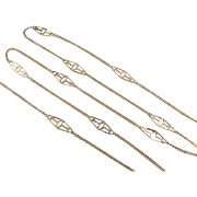 "Vintage 14k Gold Station Chain Necklace ~ 19"" ~ 2.6 Grams"