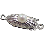 Vintage 14k White Gold Cultured Pearl Clasp