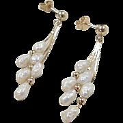 Vintage 14k Gold Freshwater Pearl Earrings