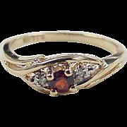 Vintage 10k Gold Garnet and Diamond Ring