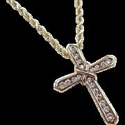 """Vintage 10k & 14k Gold Diamond Cross Necklace ~ 20"""""""