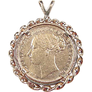 Vintage 14k & Fine Gold 1879 British Sovereign Coin Pendant