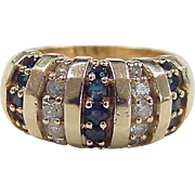 Vintage 14k Gold Diamond and Sapphire Ring