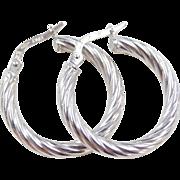 Vintage 18k White Gold Twisted Hoop Earrings