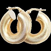 Vintage 18k Gold Wide Tube Hoop Earrings